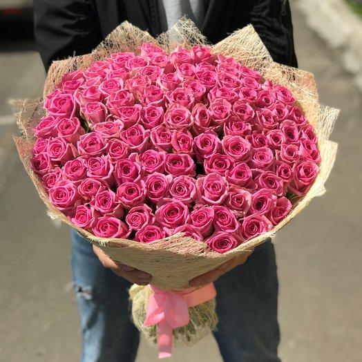 Букет из  101 розы ( 50 см ) Розовая N117: букеты цветов на заказ Flowwow