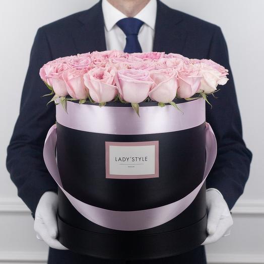 Ароматные эквадорские розы Pink O Hara в шляпной коробке XL: букеты цветов на заказ Flowwow