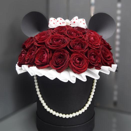 Коробка Мини Маус: букеты цветов на заказ Flowwow