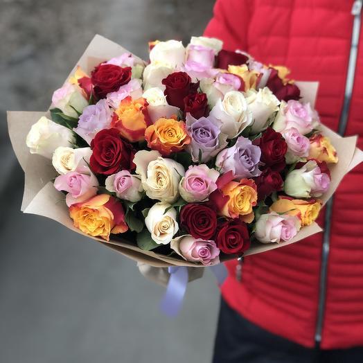 Букет из 53 разноцветных кенийская роза: букеты цветов на заказ Flowwow