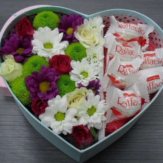Сердечко с ромашками и Рафаэлло: букеты цветов на заказ Flowwow