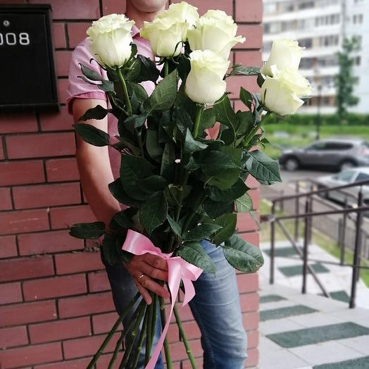 Букет из 9 белых голландских роз 80 см: букеты цветов на заказ Flowwow