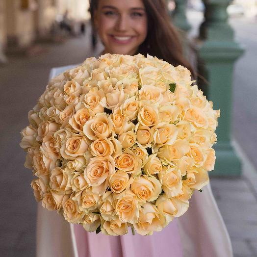 """Букет """"101 Роза персиковая"""": букеты цветов на заказ Flowwow"""