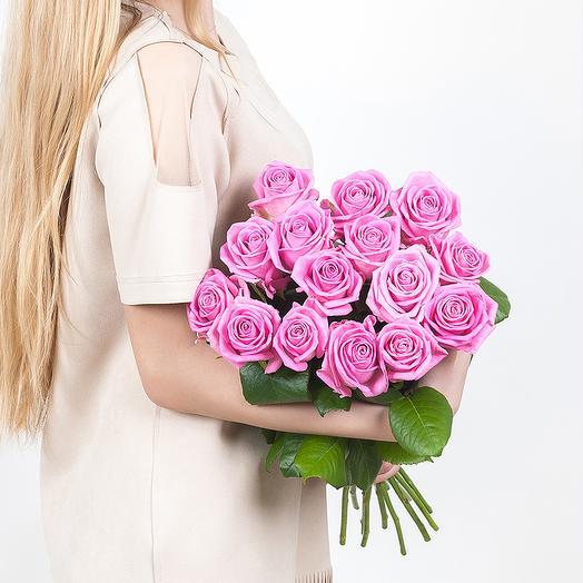 15 сиреневых роз: букеты цветов на заказ Flowwow