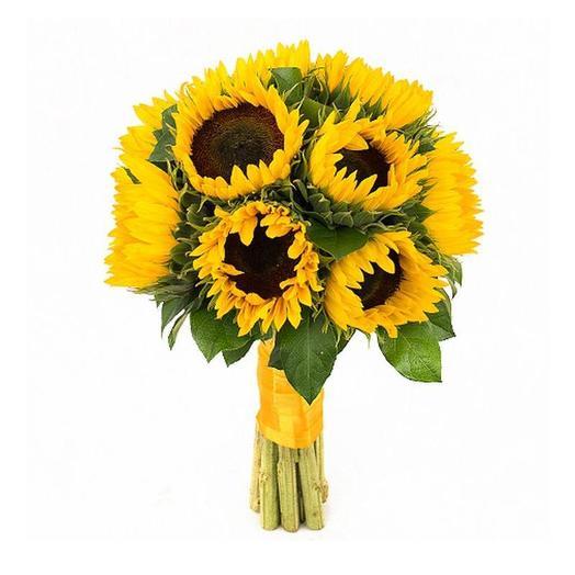 Подсолнухи с лентой 10 шт: букеты цветов на заказ Flowwow