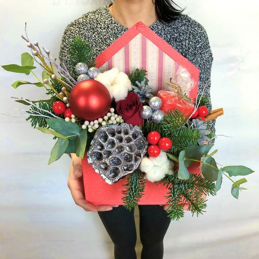 Новогодний конверт с цветами: букеты цветов на заказ Flowwow