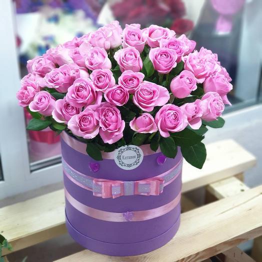51 пионовидная Роза в коробочке