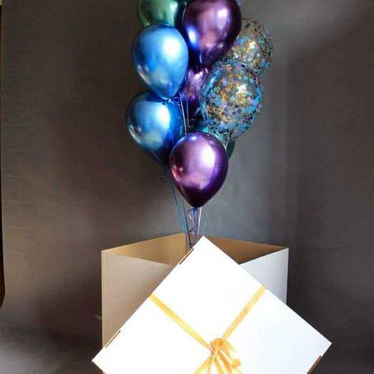 Коробка-сюрприз с шарами хром