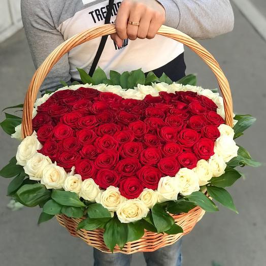 Корзина из 101 розы сердце
