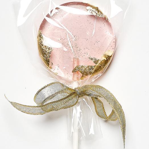 Леденец из изомальта розовый с пищевым золотом и блестками