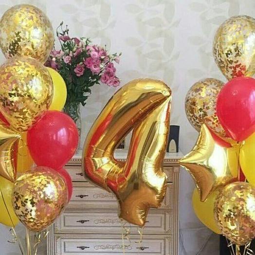 Комплект шаров золотой, с цифрой