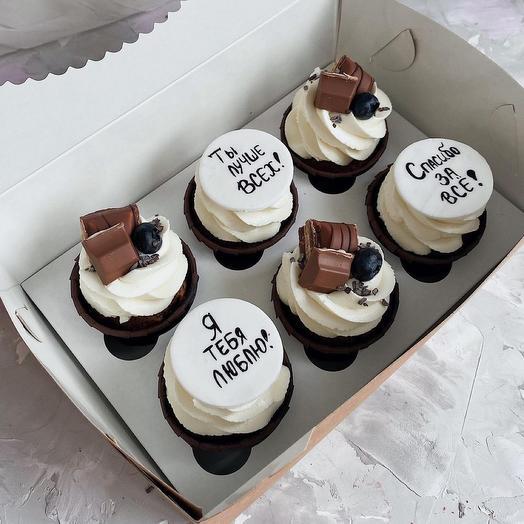 Набор шоколадный капкейков с надписями (6 шт)