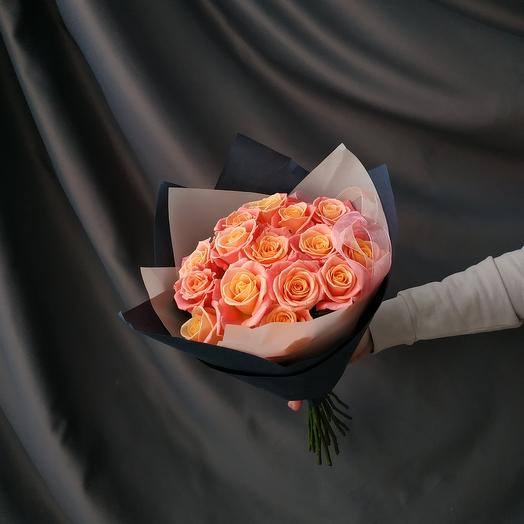 """Букет""""15 персиковых роз"""""""