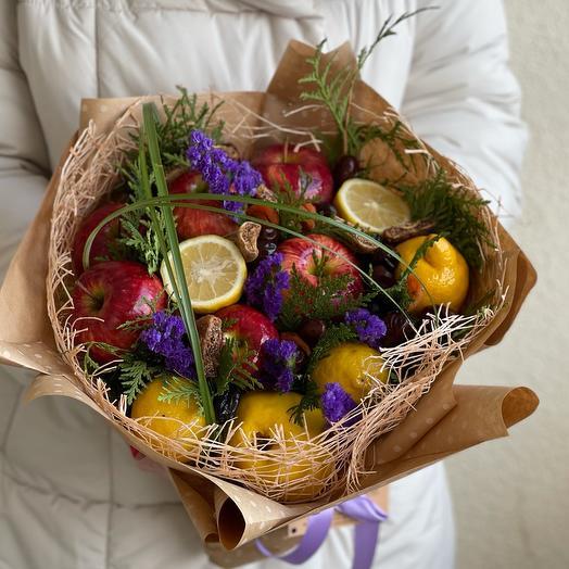 Съедобный букет из фруктов и сухофруктов