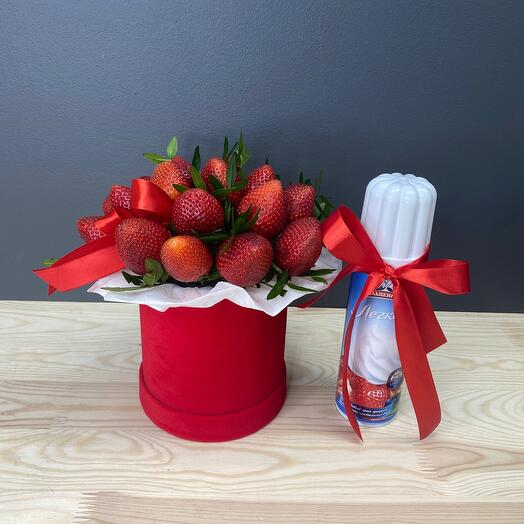 Strawberries in a box and cream