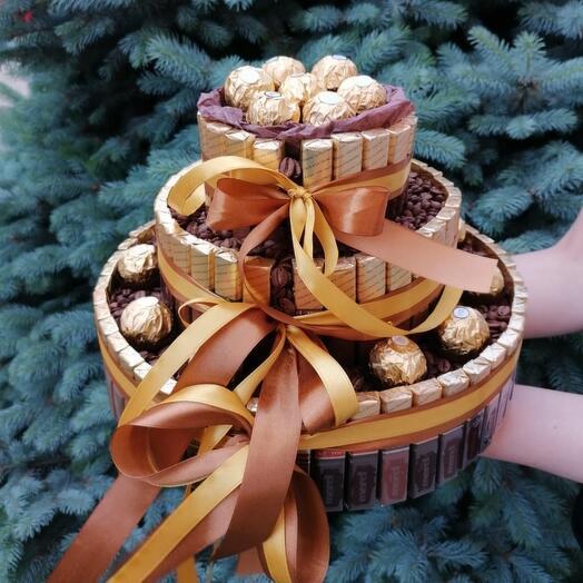 """Вкуснейший  торт из конфет """"мерси"""" и """"ферейро"""""""
