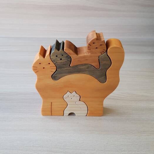 """Деревянный пазл из кедра ручной работы """"Кошачья семья"""", 4 элемента"""