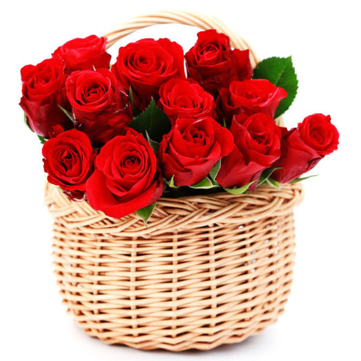 Basket of 15 red roses: flowers to order Flowwow