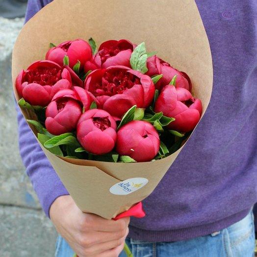 Букет из 9 бордовых пионов: букеты цветов на заказ Flowwow