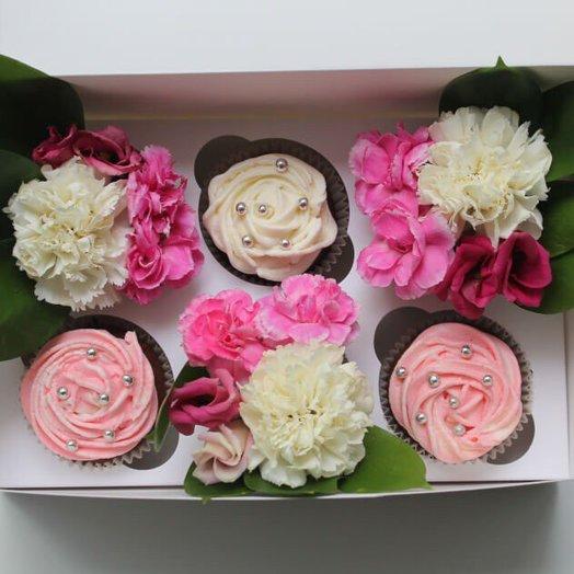 Диантус и 3 капкейка: букеты цветов на заказ Flowwow