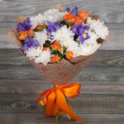 Ирисы в Хризантемах: букеты цветов на заказ Flowwow