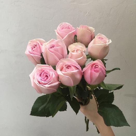 Букет из 9 розовых кенийская роза: букеты цветов на заказ Flowwow