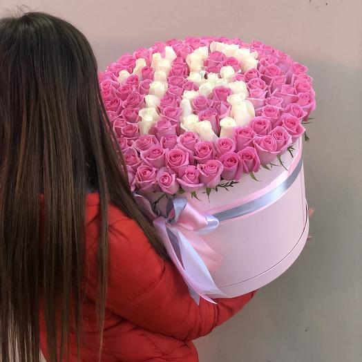 141 роза в коробке с цифрой: букеты цветов на заказ Flowwow