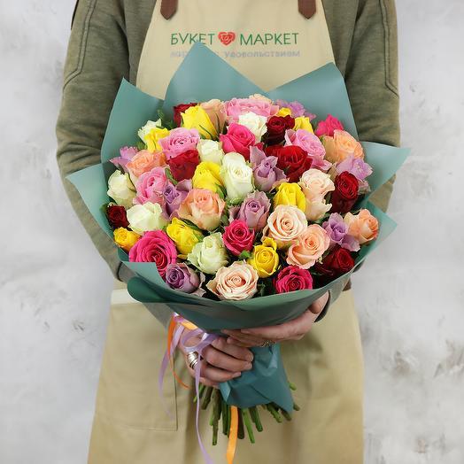 Букет из 51 разноцветных кенийских роз