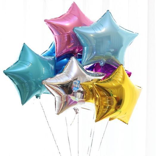 Фольгированный шар Звезда 5 шт: букеты цветов на заказ Flowwow