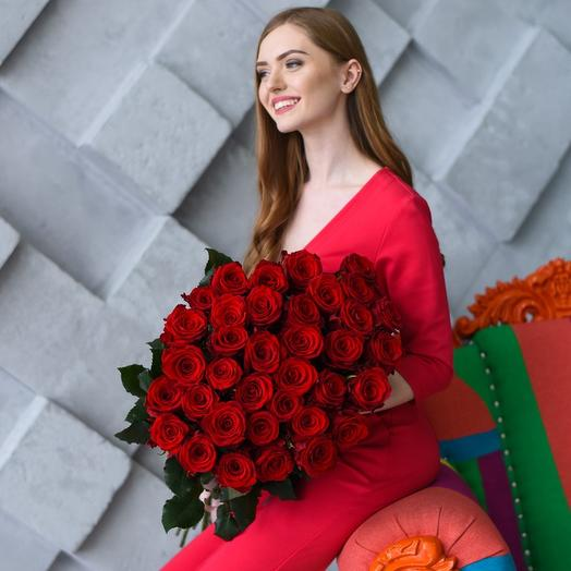 Букет из 37 красных роз 70 см: букеты цветов на заказ Flowwow