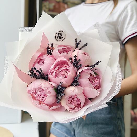 Пионы и лаванда mini: букеты цветов на заказ Flowwow