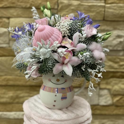 Кружка снеговик: букеты цветов на заказ Flowwow