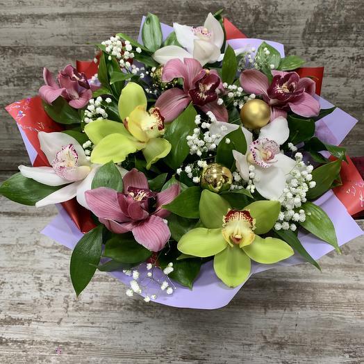 Новый год - букет с орхидеями