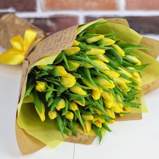 Букет из 49 желтых тюльпанов. N679: букеты цветов на заказ Flowwow