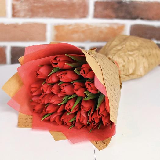 Букет из 25 красных тюльпанов. N687