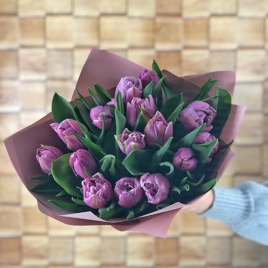 Сиреневый туман (15 пионовидных тюльпанов)