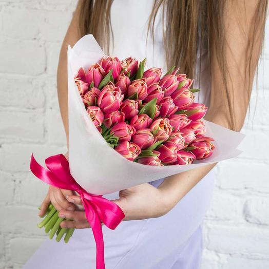 35 пионовидных розовых тюльпанов: букеты цветов на заказ Flowwow