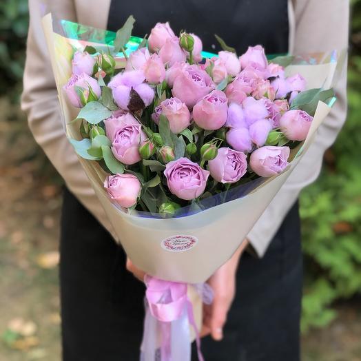 Букет пионовидных роз «Лавендер»