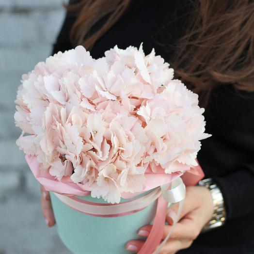 Нежно-розовая гортензия в шляпной коробочке фифти