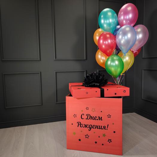 Разноцветные воздушные шарики металлик в красной коробке