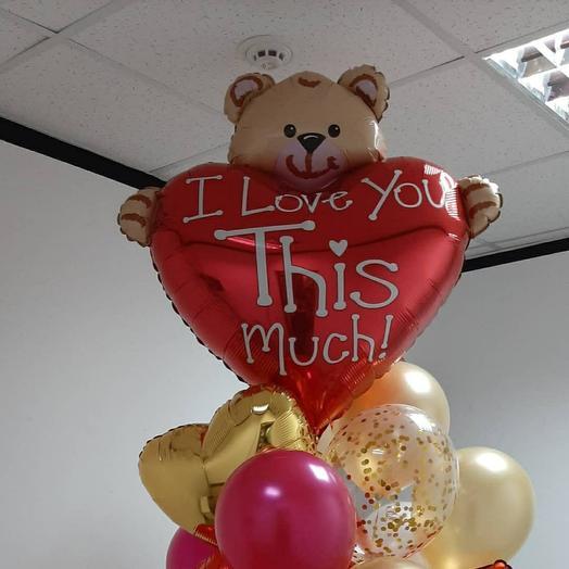 Большой шар с гелием Мишка с сердцем