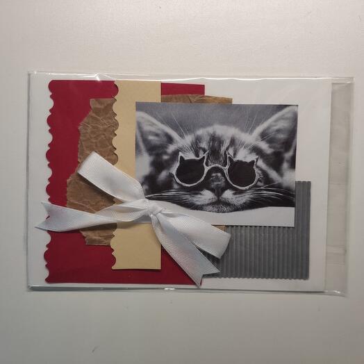 Крафтовая открытка кот