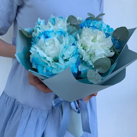 Мальвина ( синие пионы с эвкалиптом)