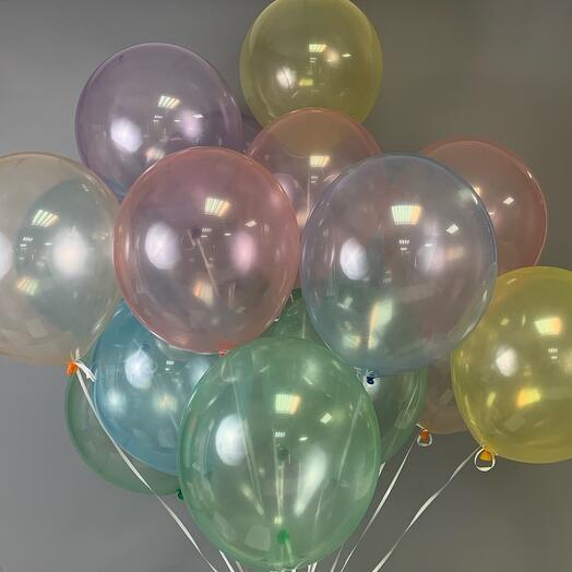 Каскад из 17 гелиевых шаров «Мыльный пузырь»
