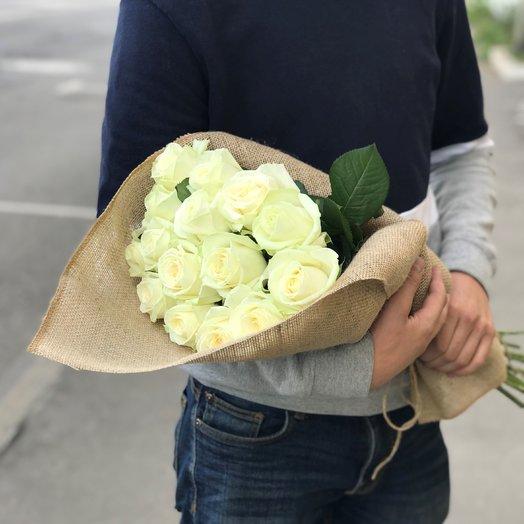 Белая роза 50 см 15 шт. N175: букеты цветов на заказ Flowwow