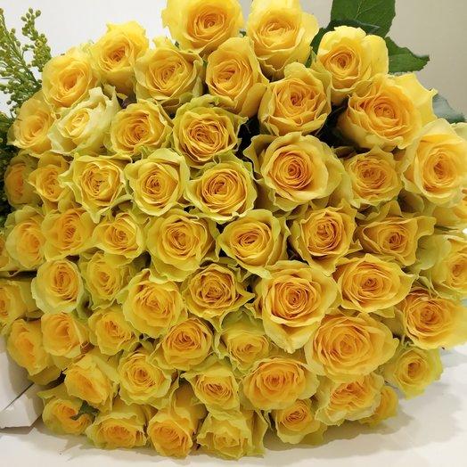 Букет из 51 желтой местной розы 60 см: букеты цветов на заказ Flowwow