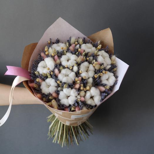 Большой букет из лаванды и хлопка: букеты цветов на заказ Flowwow