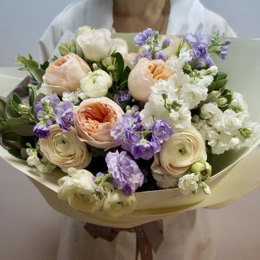 Розы Девида Остина и Маттиола: букеты цветов на заказ Flowwow