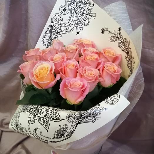 """Букет чайных роз """"мисс пигги"""": букеты цветов на заказ Flowwow"""