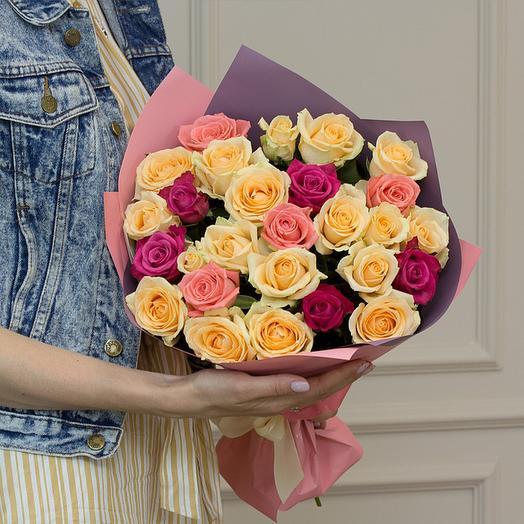 "Букет из ""25 роз микс"": букеты цветов на заказ Flowwow"